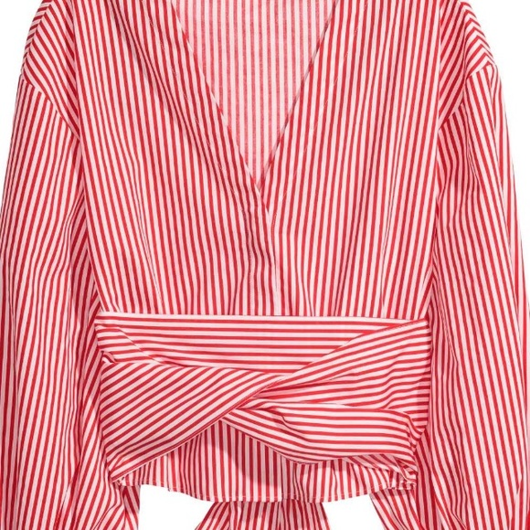 74d5955b29 H&M Tops   New Hm Red White Striped Wrap Spring Top 4 S   Poshmark